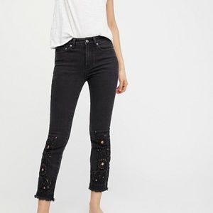 "NWOT Free People Cutwork 9"" Highrise Jeans 